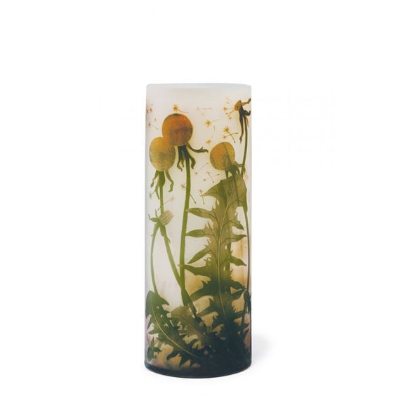 Daum Freres, Nancy. 'Pissenlits dent-de-lion' vase, c1905. H. 30.4 cm. Cased glass, clear, orange and dark green. Pale pink powder inclusions. Multiply etched dandelion pattern. Signed: Daum Nancy, cross of Lorraine.1