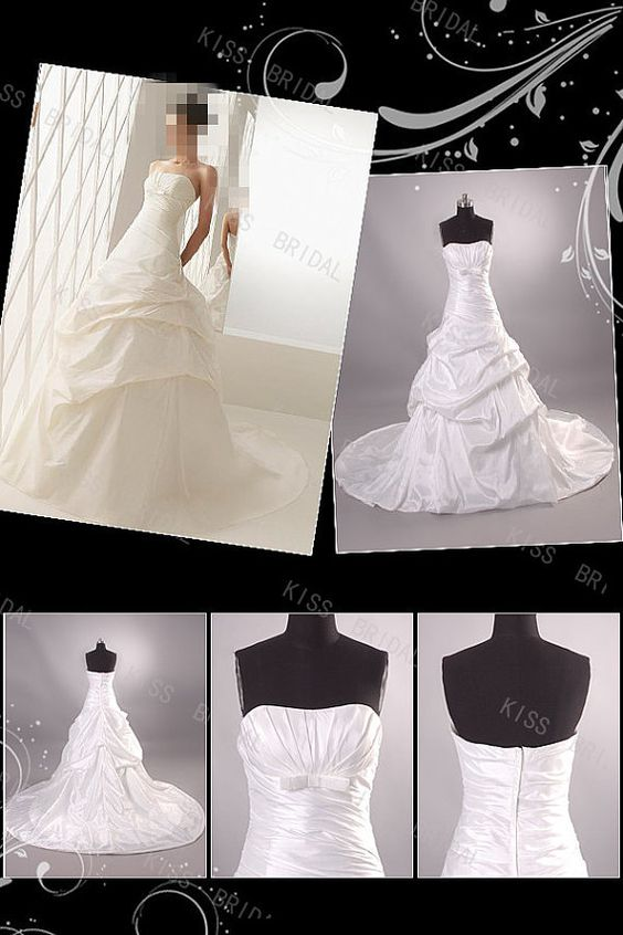 Geogrous strapless taffeta pleated chapel train 2014 wedding dresses