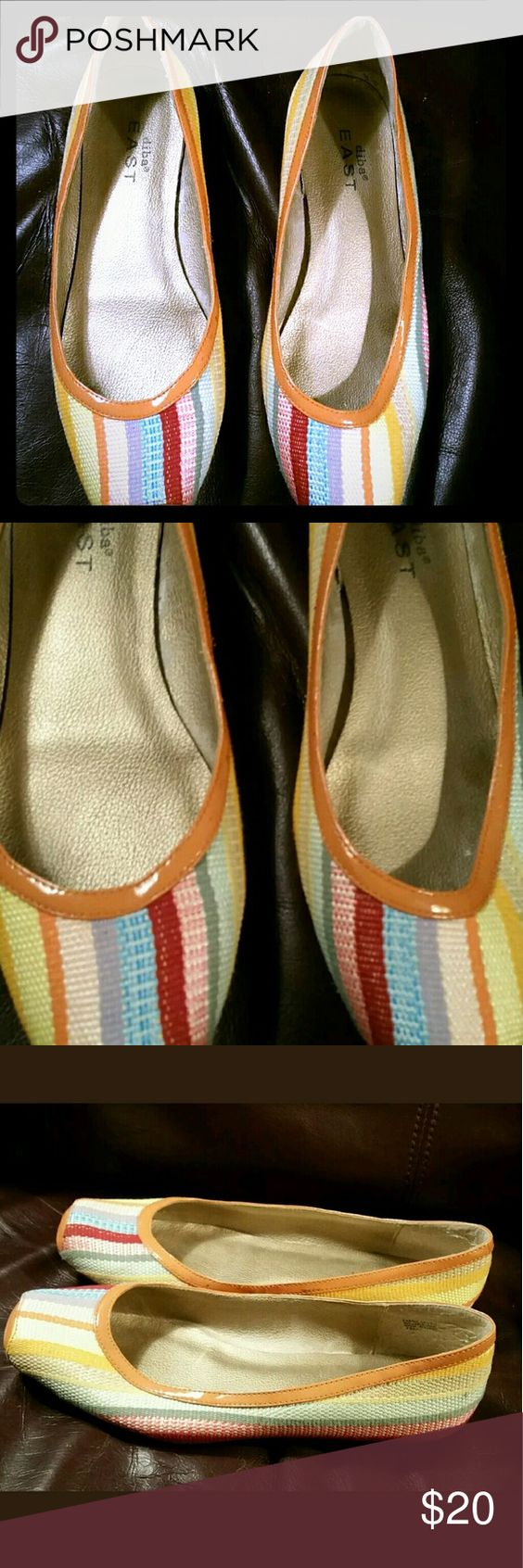 Diba EAST ballet flats  Multi-color Orange 7.5M Diba EAST fabric ballet flats  Size 7.5M  Multi-color cloth fabric uppers, rubber sole  Orange patent trim  Good pre-owned condition  Clean insides, bottoms show normal wear Diba EAST  Shoes Flats & Loafers