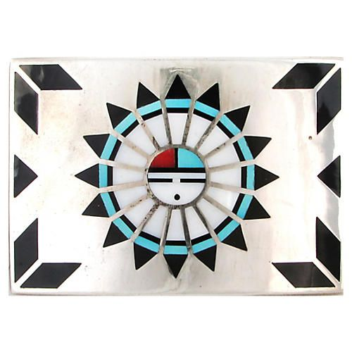 Ruby George Zuni Sterling Turquoise Inlay Buckle Zuni Sterling Silver Sunface Belt Buckle Inlaid With Onyx Turquoise Coral An Belt Buckles Inlay Buckle