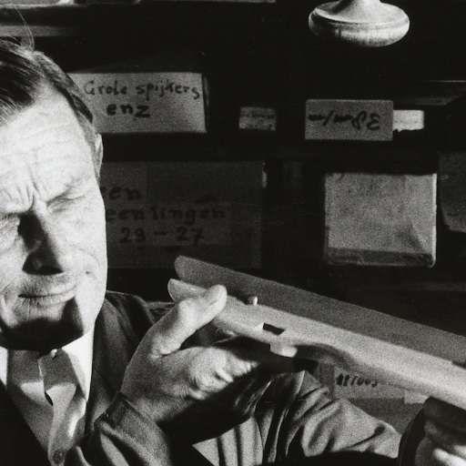 Portret van een schaatsenreparateur in zijn werkplaats, Paul Huf, 1971 - Zoeken…