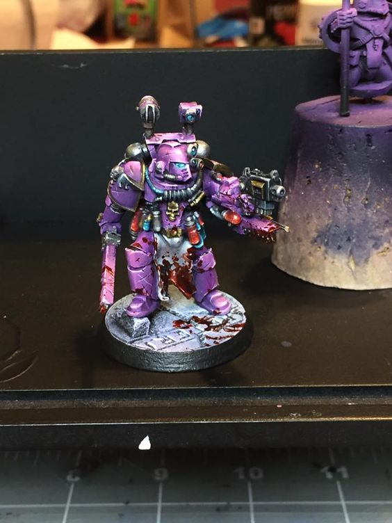 Purple Space Marines are the best Space Marines, this one was painted by Damon Descher