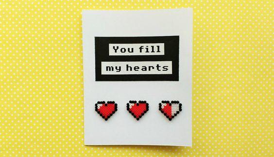 3D Zelda Greeting Card Zelda Hearts Birthday by 8BitEarrings