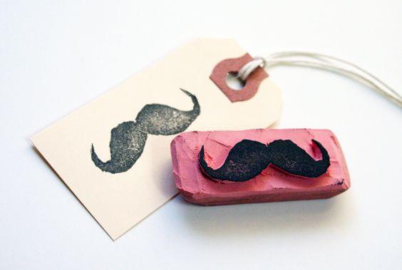 Uber-cool DIY rubber stamp mustache using an eraser
