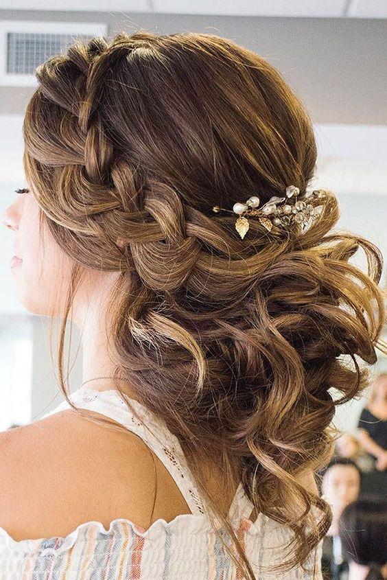 greek wedding hairstyles braid with curls hairandmakeupbysteph #MessyHairstylesBraids