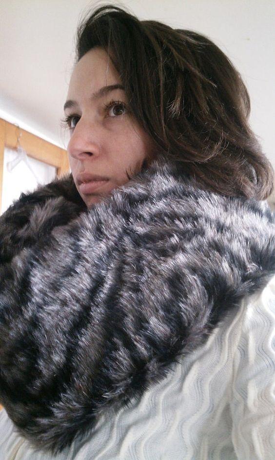Black & Gray Faux Fur Infininty Loop by Marishca on Etsy, $34.99