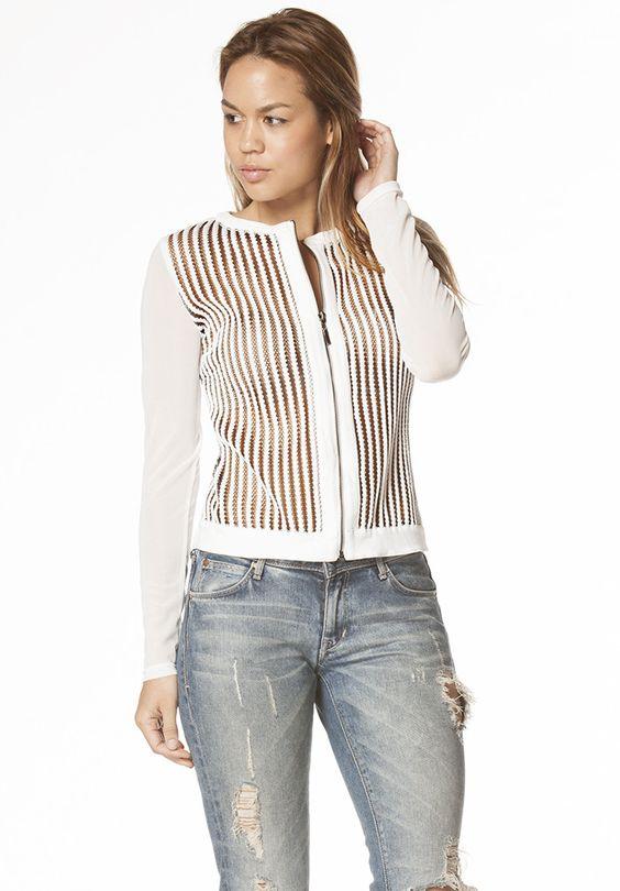 Kris Fishnet Jacket in White