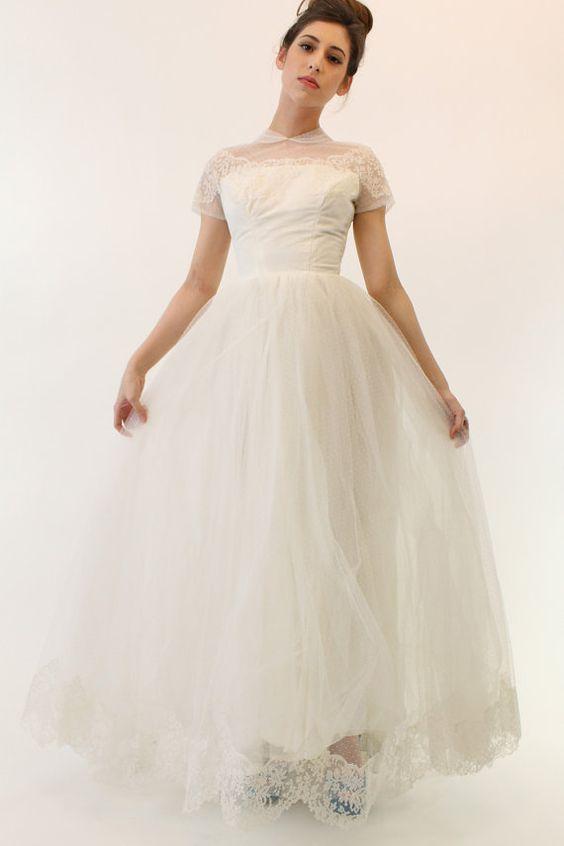 50s tulle wedding dress xxs 1950s swiss dot gown the for Dotted swiss wedding dress
