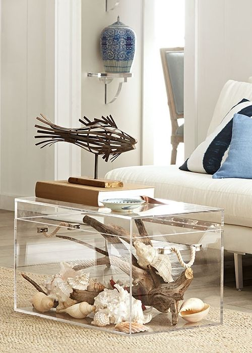 Acrylic Coffee Table, Beach House Furniture Beachcomber Home Decor