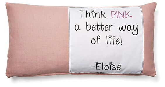 "One Kings Lane - The Soft Stuff - ""Think Pink"" 12x24 Cotton Pillow, Pink"
