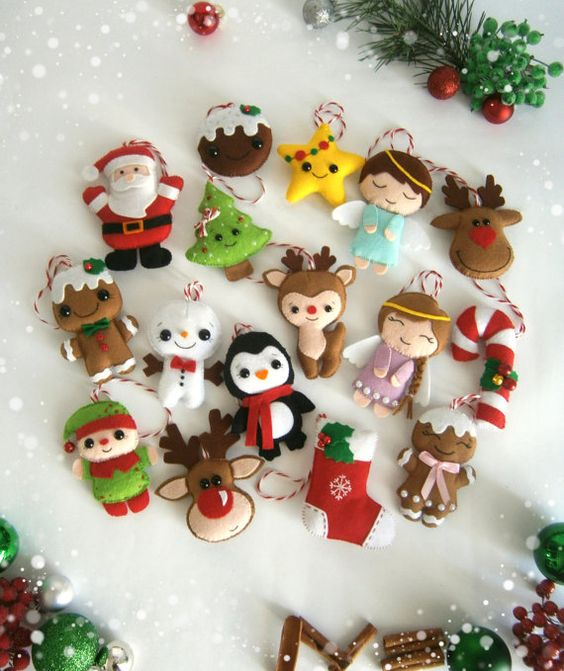 Christmas ornaments felt SET of 24 ornament Christmas felt Decor Big set cute…: