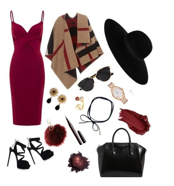 """""""Wine"""" by beautifel on Polyvore featuring Burberry, Casadei, Christian Dior, Givenchy, Maison Michel, Rebecca Minkoff, Kate Spade, Dolce&Gabbana, Marc Jacobs and Urban Decay"""
