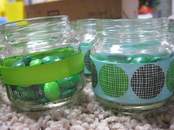 M&Ms; in baby food jars