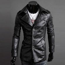 retro man jas faux leer geul mannen jassen bovenkleding jassen jas, hoge kwaliteit mannelijke warm lederen jas slanke kleding(China (Mainland))