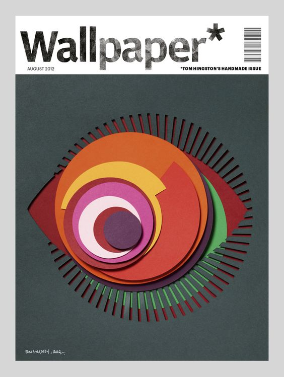Handmade Wallpaper* covers. Designer Tom Hingston used cut paper to create his cover image