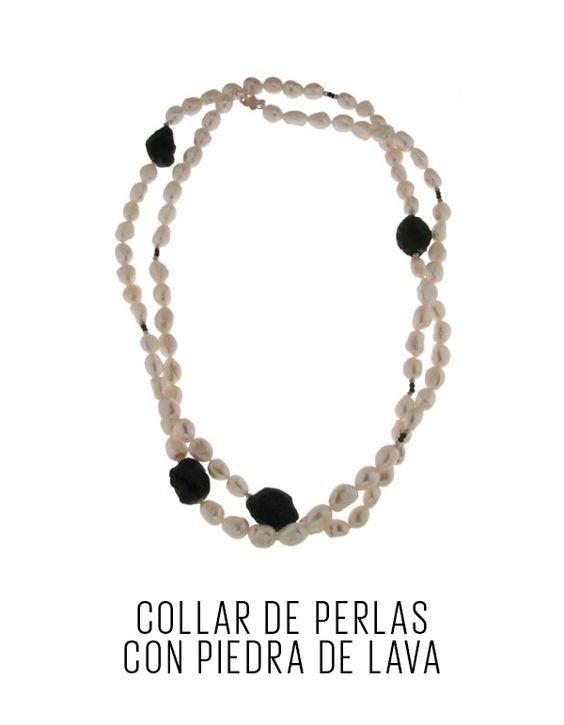 Collar de perlas con piedra de lava. - Tanya Moss - El Palacio de Hierro