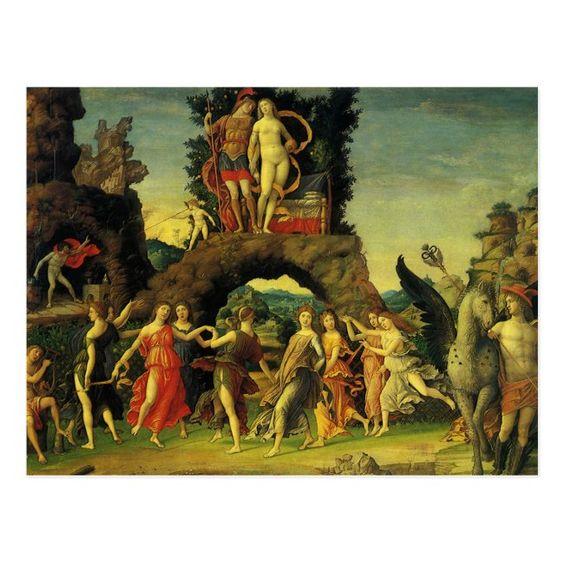 Parnassus Mars and Venus by Andrea Mantegna Postcard #muses #goddess #mythology #renaissance #dancing #Postcard