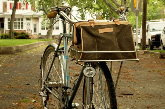 Laplander Porteur Leather and waxed canvas handmade bicycle bag $210