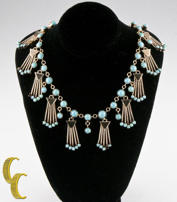 """10k Yellow Gold Turquoise Necklace Chain Link Style w/ Dangling Accents 17"""" #Pendant"""