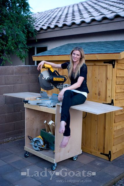 Make a miter saw cart from a single sheet of plywood! Has folding wings to stow away in tight spaces. Look how strong it is!
