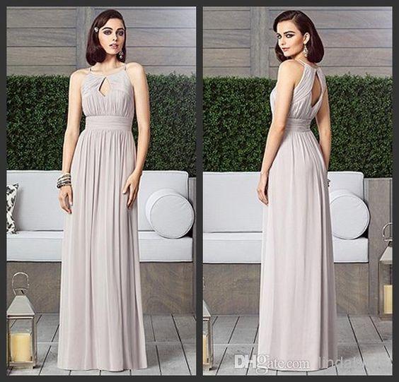 Wholesale Bridesmaid Dress - Buy Top Quality 2014 Double Spaghetti Silver Chiffon Pleat Prom Dress Evening Dresses Bridesmaid Dresses B35 Size 2-4-6-8-10-12, $106.0 | DHgate