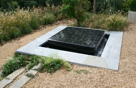 Modern square sunken pond layered water feature for Square fish pond