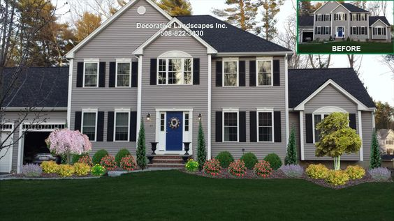 Colonial home front yard landscape design lakeville ma for Colonial landscape design