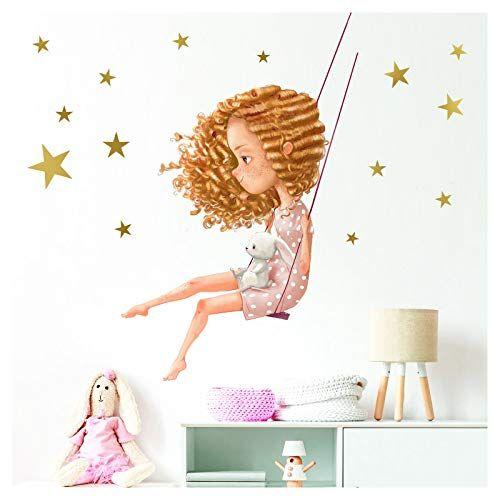 Little Deco Wandaufkleber Mädchen mit Hase auf Schaukel I S ...