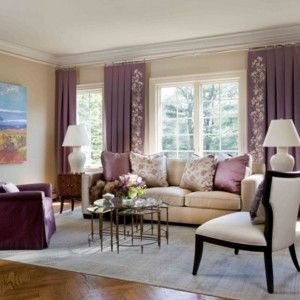 Rustic beige sofa with purple accent for comfy living room - Beige and purple living room ...