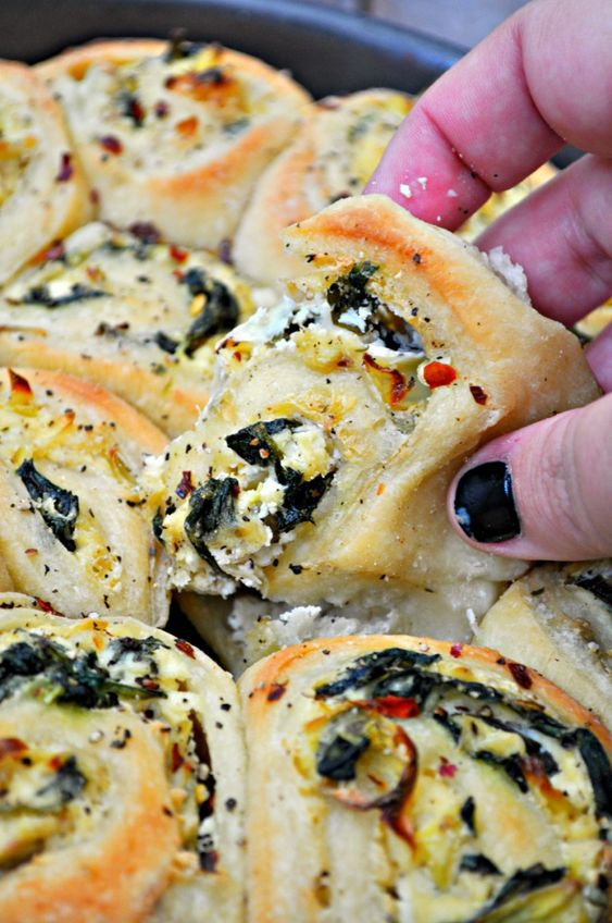 Vegan Savory Spinach and Artichoke Rolls - Rabbit and Wolves