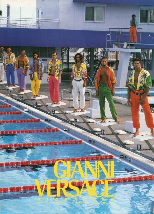 Hot guys on diving blocks. Gianni Versace 90's.
