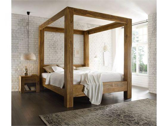 LIT À BALDAQUIN 180x200 cm bois de palissandre ciré FINITION TECK chambre Stark