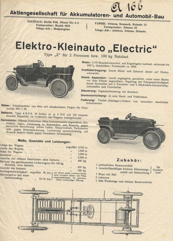 Prospekt d. Accumulatoren-Fabrik Aktiengesellschaft für das Elektro-Kleinauto » Electric « , Berlin, 1914, Reproduktion: Verkehrsmuseum Dresden