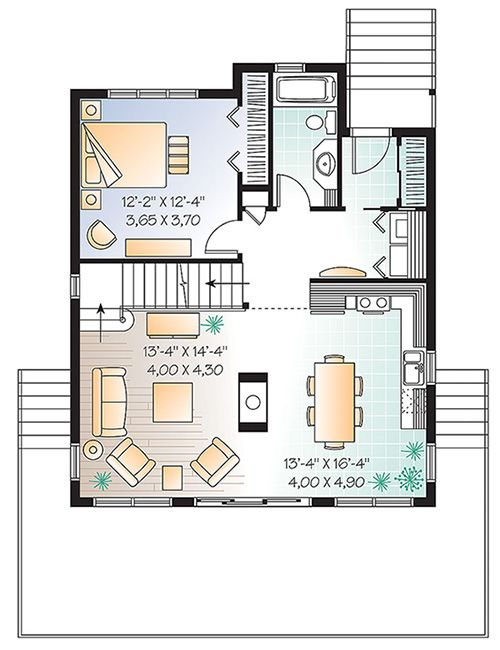House Plan 034 01114 Cottage Plan 1 301 Square Feet 3 Bedrooms 2 Bathrooms Cottage Plan House Plans Narrow Lot House Plans