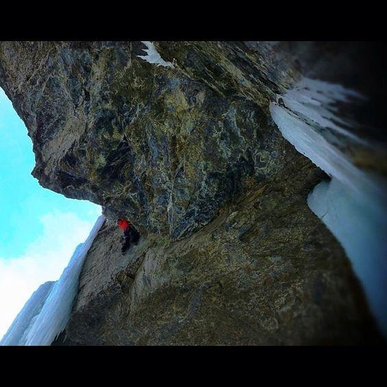 Arc'Athlete Matthias Scherer climbing in the Cineplex, Canadian Rockies.