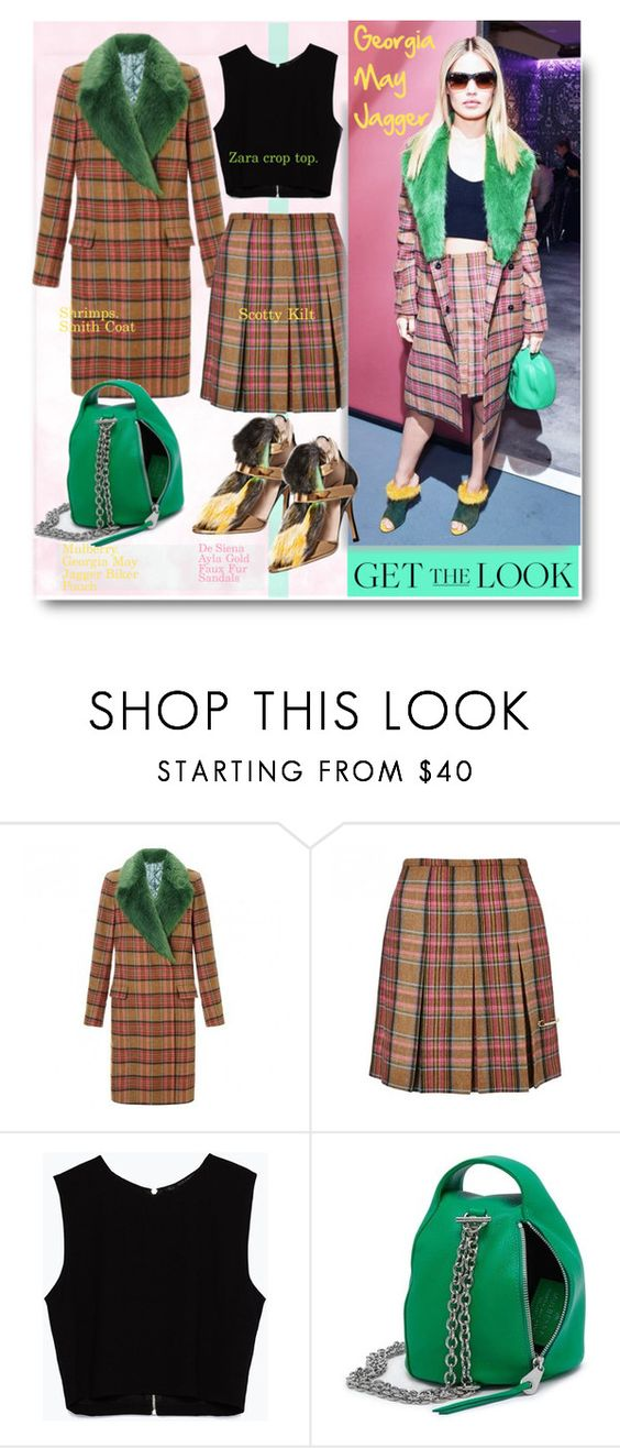 """""""Get the look: Georgia May Jagger."""" by hamaly ❤ liked on Polyvore featuring moda, Zara, De Siena, GetTheLook, StreetStyle, plaidshirt, furcoats e waystowear"""