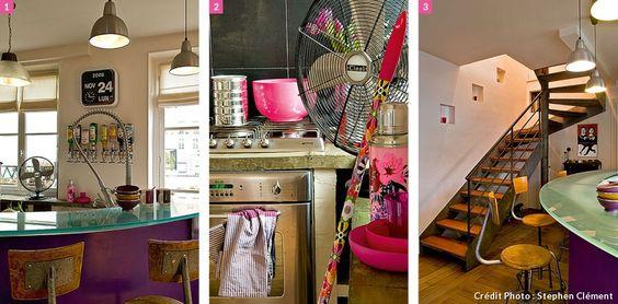 L'escalier (Escaliers Décors www.ed-ei.fr) est une des pièces maîtresses qui signe l'identité de la pièce. Trois petites niches ont été créées pour rythmer la montée à l'étage. Compo de la cuisine ouverte.