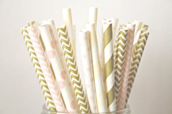 Sweet blush polka dots in 2 sizes, delicate ivory , metallic gold shimmer and two colors of chevrons - these straws can help bring a touch of sparkle to