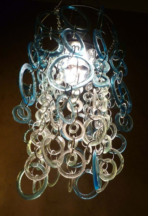 chandelier made from recycled wine bottles