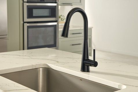 Sleek Matte Black One Handle High Arc Pulldown Kitchen Faucet 7864bl Kitchen Faucet Pulldown Kitchen Faucets Faucet