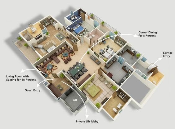 50 Four 4 Bedroom Apartment House Plans Bedroom