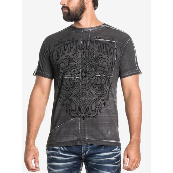 Affliction Men's Ironside Graphic-Print T-Shirt (71 CAD) ❤ liked on Polyvore featuring men's fashion, men's clothing, men's shirts, men's t-shirts, white w velt print, affliction mens shirts, mens leopard print t shirt, mens graphic t shirts, mens white t shirts and mens patterned t shirts
