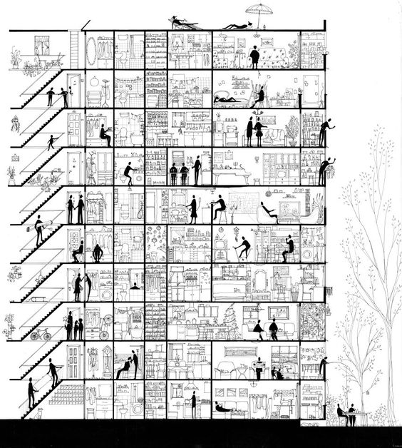 Life sectioned a section drawing about an apartment for Apartment plans dwg