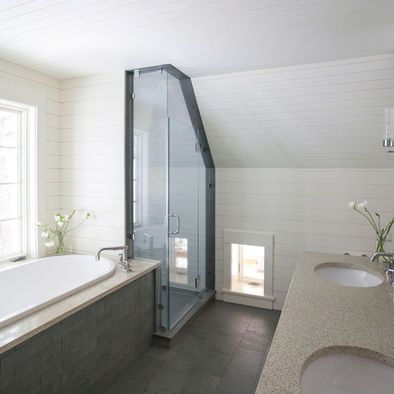 Bathroom sloped roof design pictures remodel decor and for Sloped ceiling bathroom ideas