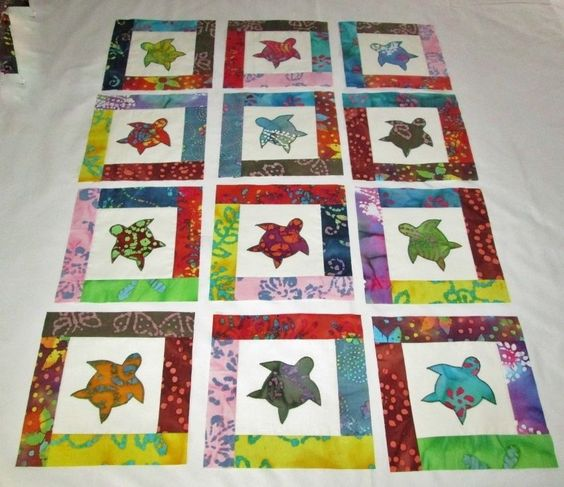8 Quot X 8 Quot Set Of 12 Pieced Amp Appliqued Sea Turtle Quilt