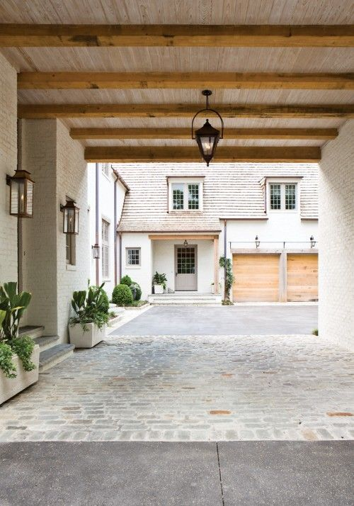 Beams garage and driveways on pinterest for Entrance from garage to house