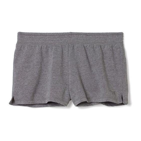 Victoria's Secret Fleece Short ($15) ❤ liked on Polyvore featuring shorts, bottoms and grey