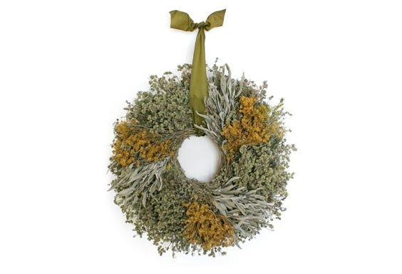 "15"" Herbal Wreath w/ Ribbon, Dried"