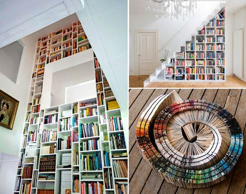 50 awesome creative ways to display and store books. Black Bedroom Furniture Sets. Home Design Ideas