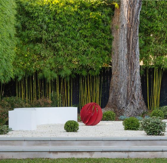 Better Homes and Gardens ... Clumping bamboo hedge, sculpture garden